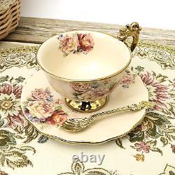Fanquare 15 Pieces British Porcelain Tea Sets, Vintage Flowers China Coffee Set