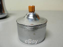 Farberware Chrome & Butterscotch Bakelite 3-pc Des Années 1930. Set À Café