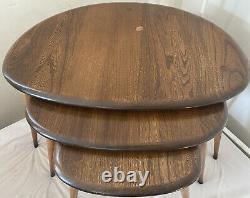 Fixer 3 Vintage MID Century Retro Ercol Elm Wood Pebble Nest Des Tableaux De Café Vgc