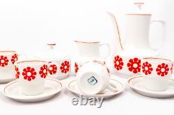 Fleurs Rouges Vintage 6 Personnes Hollohaza Ensemble De Café En Porcelaine Avec Motif Floral