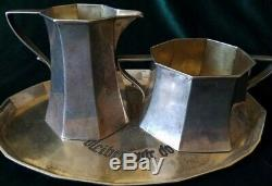 German Vintage Sterling Silver 3 Pièces 800 Plateau Set Wwii