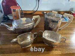 Heavy Sterling Silver 4 Piece Tea & Coffee Set Art Déco Vintage Sheffield 1941