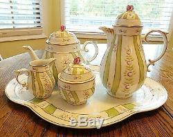 Hollohaza Vintage Tea Peint À La Main 8 Pièces Et À Café Avec Plateau De La Hongrie