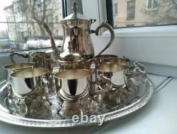 Incroyable Vintage Café Set 1960 Plaqué Argent 6 Personne Melchior Cupronickel