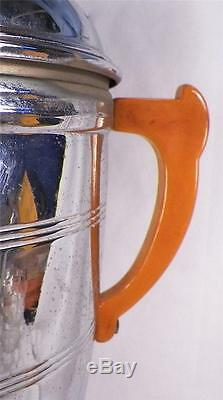 MID Century Modern Café Set Bakélite Poignées Chrome Coffeepot Teapot Creamer S