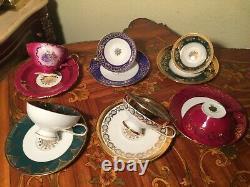 Mélange De 6 Tasses Et Soucoupes Vintage Allemand Gloria Coffee Porcelain Set