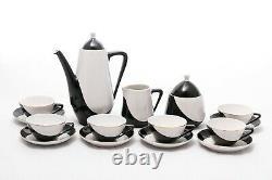Monochrome 6 Personne Coffe Ensemble Vintage Hollohaza Porcelaine Hongrie'60s