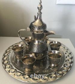 Nice Vintage 8 Pc Dallah Arabe Coffret De Service De Café Euc