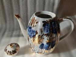 Nos Vintage Tea Cafe Set Lomonosov 6/16 Golden Garden Cobalt Blue Gold 22k