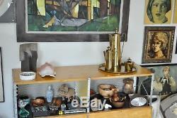 Parzinger Dorlyn Vtg MID Century Modern Café En Laiton Thé Théière Pichet Plateau Plateau