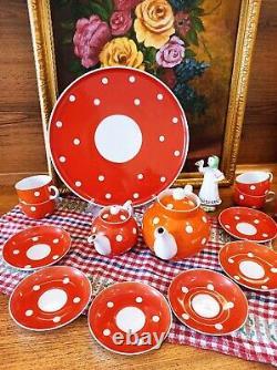 Plateau À Thé Rouge Aux Pois Blancs Dfz Dulevo 1967-1991 Urss Vintage (no Lfz)