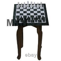 Plateau D'échecs En Marbre Vert Placé Incrustation Vintage Morceaux De Pierre Sculptée Table Basse Dessus