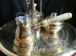 Plateau Vintage Service À Café Islamique En Cuivre Fabriqué A La Main Arabe Moyen-oriental 3 Tasses