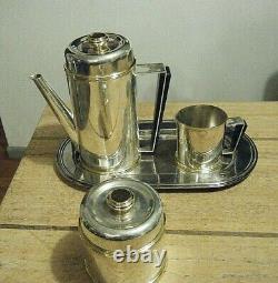 Pm Italie Vintage MID Century Moderne En Argent Plaque De Café En Or Avec Plateau