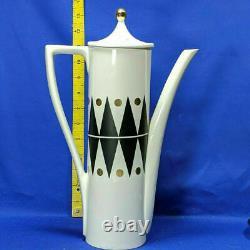 Portmeirion Gold Diamond 15 Piece Cylinder Coffee Set Unused Rare Vintage Années 1960