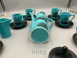 Portmeirion Vintage Voile Ships Bleu 15 Pièces Cafetière