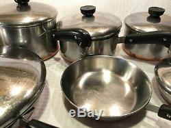 Qce Vtg Avant 1968 Copper Bottom Revere Ware Marmite Sauce Frying Pan Café Set