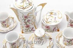 Rare 6 Personnes Café Vintage Set Hollohaza Hungary'90s Porcelaine