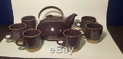 Rare Edith Heath Poterie Céramique Vintage Mi-siècle Deep Purple Tea Set Café