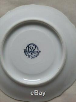 Rare Rudolf Wachter Bavière Vintage Porcelaine Avec De L'or Overlay Set Café