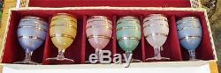 Rare Set 6 Vintage Waterford Domestic Coloré Lunettes À Café Irlandais + Boîte Irlande