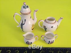 Rare Vintage / Antique Royal Worcester Early Re. Chinois Miniature Tea / Café