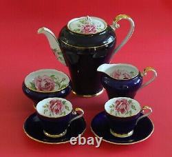 Rare Vintage Aynsley Tea/cafee Pot Set Tasses Saucers Cobalt Blue Roses Or