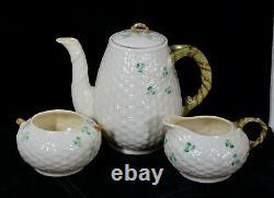 Rare! Vintage Belleek Pottery Shamrock Pattern 3 Piece Coffee Set Menthe