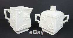 Rare Vintage Boehm Porcelaine 3pc Rose Café Set Pot Creamer Sucrier Bol De Thé