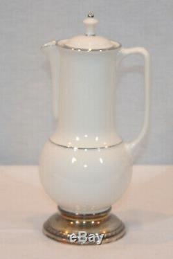 Rare Vintage Lenox T328 Set De Café En Porcelaine De Chine Et Argent Massif Menthe