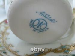 Rare Vintage Noritake Japon Turquoise Jewelled Heavy Gilt Ensemble De Café Complet