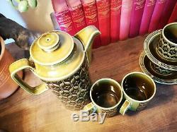 Rare Vintage Vintage Hornsea Heirloom Green Tea And Coffee Set Des Années 1970