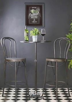 Retro Vintage Bar Table Chaises Hautes Ensemble Tabourets Sièges Cocktail En Métal Vin Café