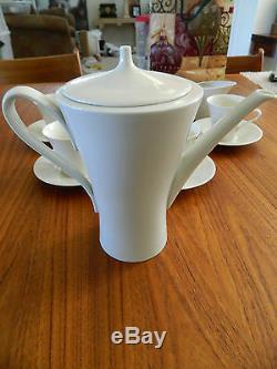 Rhenania W. Germany Set À Serviette À Thé Café Chine Vintage En Os Blanc