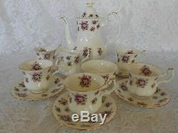 Royal Albert Doux Violettes English Bone China Coffee Set Ex Condition