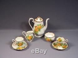 Royal Albert Yellow Tea Rose Bone China Coffee Cacao Set De Pot Vintage Angleterre