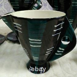 San Polo Ceramics Café Tea Set Italie F/2 Vtg MCM 15 Pièces Noir Teal Purple