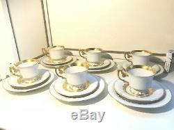 Service À Café 6 Assiettes Et Soucoupes Rare En Porcelaine Vtg Bavière Allemagne Heinrich
