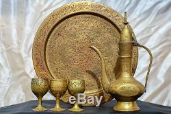 Service À Café Arabe Islamique Vintage En Laiton, Bronze Cuivre, 3 Tasses + Crémier + Plateau