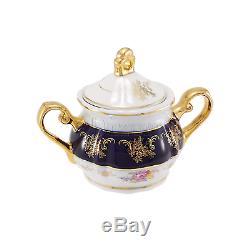 Service À Café Avec Porcelaine Euro Premium De 17 Pièces, Tasse À Thé Bleu Cobalt, Vintage Floral