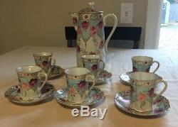 Service À Café Avec Thé En Porcelaine, Chocolat Et Fleurs Roses, Garniture Dorée, 13 Pièces