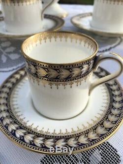 Service À Café Élégant Vintage Wedgwood Bone China, Bleu, Blanc Et Or