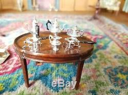 Service À Café En Argent Sterling À Thé Artisan Peter Acquisto Dollhouse Miniature 112