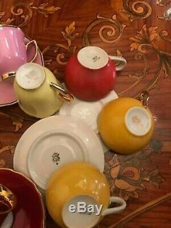 Service À Café En Porcelaine Plaquée Or, Epiag Bes Germany, Vintage 13 Tasses Et Soucoupes