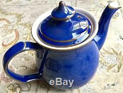 Service À Café Vintage 13 Pièces Denby Imperial Bleu Bleu En Grès