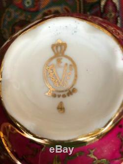 Service À Café Vintage Bavaria Plaqué Or Et Peint À La Main (5 Personnes) Avec Plateau