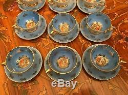 Service À Café Vintage En Porcelaine Bavaroise, 12 Tasses Et 12 Soucoupes