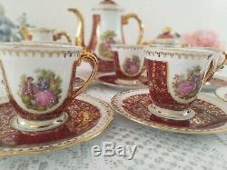 Service À Café Vintage En Porcelaine De Limoges, Décor Fragonard, Dorure À L'or, France