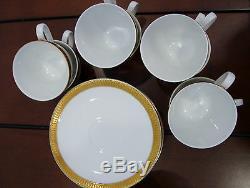 Service À Café Vintage En Porcelaine Verbano Industria Argentina, Finition Dorée 19 Pièces