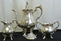 Service À Thé / Café Baroque Par Wallace, Vintage Silverplate, Sucre, Pot Et Crémier